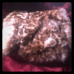 Accessories - Leopard real fur muff with satin lining